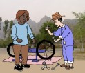 48. Repairing A Bicycle, And The Car Is Out Of Gas